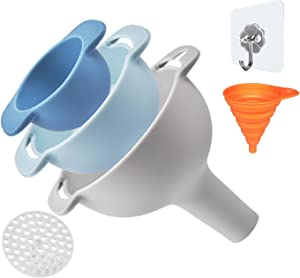 Kitchen Funnel Set of 3, Nested Funnels with Handle, Food Grade Plastic Funnels, Removable Strainer Filter for Liquid Fluid Dry Ingredients and Powder Transfer
