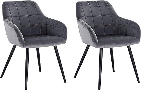 Dunkelgrau WOLTU/® Esszimmerst/ühle BH212dgr-2 2er Set K/üchenstuhl Polsterstuhl Wohnzimmerstuhl Sessel mit R/ückenlehne Sitzfl/äche aus Samt Metallbeine