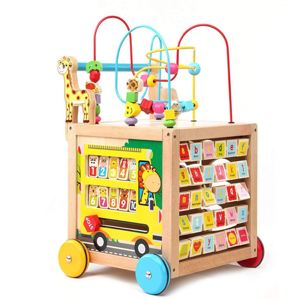 Meen Baby Walker, Wooden Baby Stroller Multi-Purpose Puzzle Preschool Toy Walker