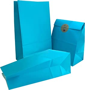Party Bag 50 pcs Food Safe Kraft Paper and Ink, Natural (Biodegradable), Vivid Colored Candy Cookie Buffet Bags, Bottom Square Bag.Lihgt Blue.with 48 pcs Thank You Stickers 1.5 inch.