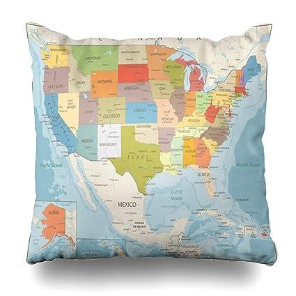 Amazon.com: NOWCustom Throw Pillow Cover Surface United Retro Color ...
