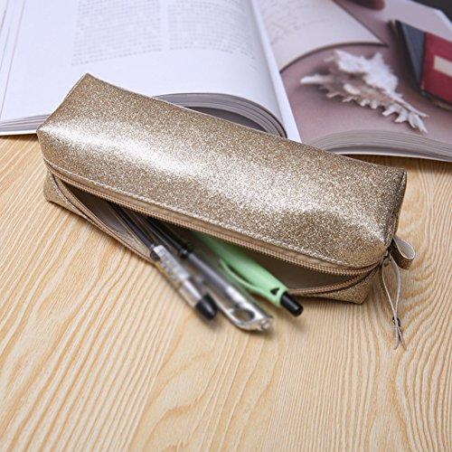 cupcinu® Studenten groß Kapazität PU Federmäppchen Pen Tasche Stationäre Fall Make-Up Kosmetiktasche, PU, blau, 20*6*6CM Silber