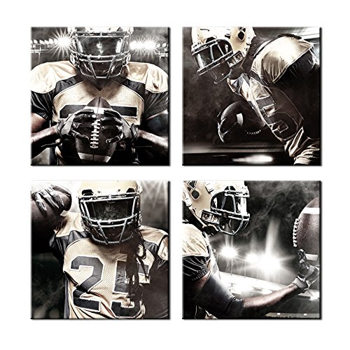 Sea Charm Large 4 Panel Wall Art American Football Poster on Canvas Framed Art Sport Paintings Giclee Print for Modern Classroom Home Decoration,Each Piece 20