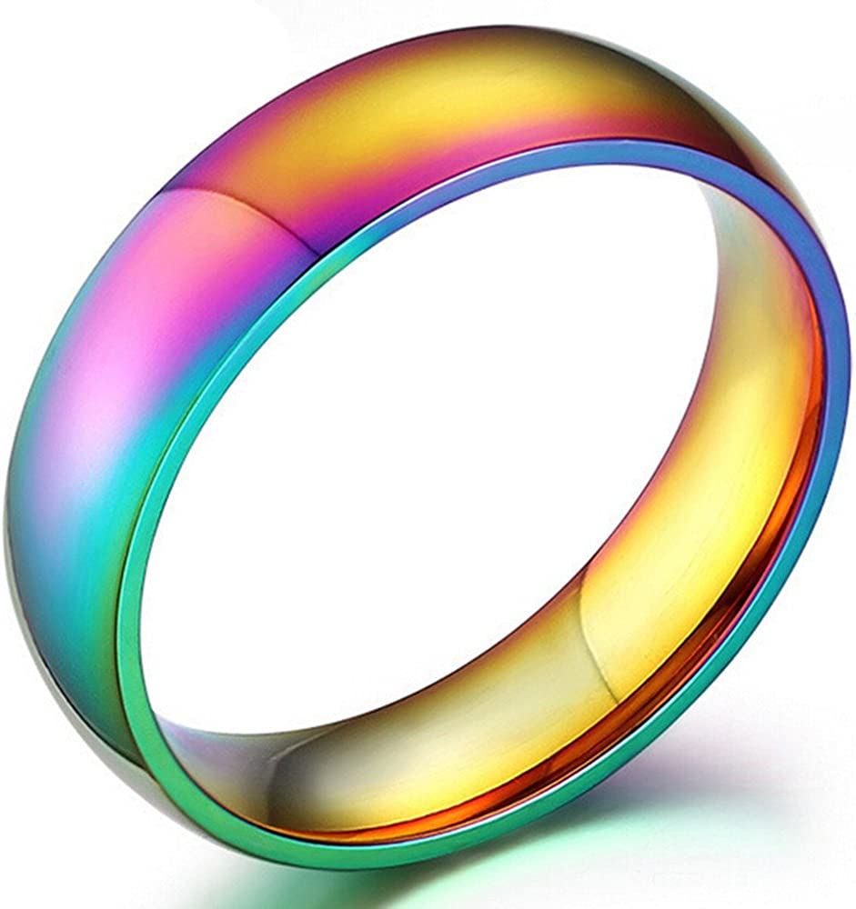 Nanafast Stainless Steel Dome Rainbow Couple Lebian & Gay Ring