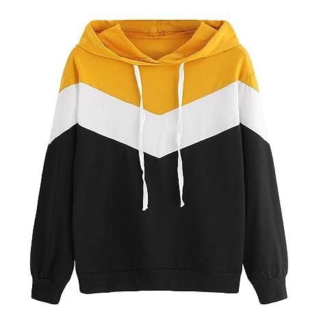 Sweatshirt Femme Imprimé, LMMVP Femmes Automne Occasionnelles Patchwork  Manche Longue Sweat à Capuche Pullover Sweat