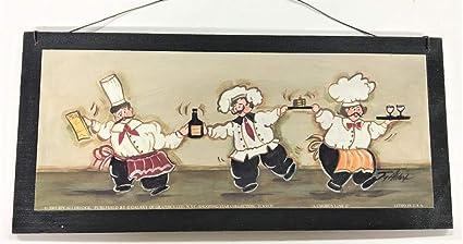 Dancing Wine Chefs Wooden Kitchen Wall Art Sign Bistro Decor
