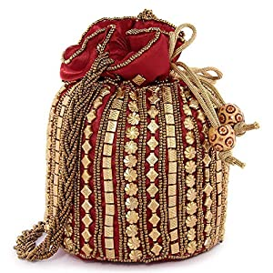PIKIPOO Women's traditional designer beads embroidery party wear potli (Maroon)