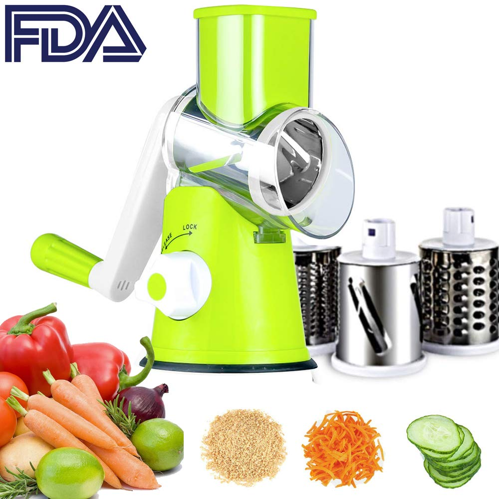 Rotary Drum Grater 3-Blades Manual Vegetable Slicer Vegetable Mandoline Chopper with Suction Cup Feet Vegetable Fruit Cheese Shredder Stainless Steel