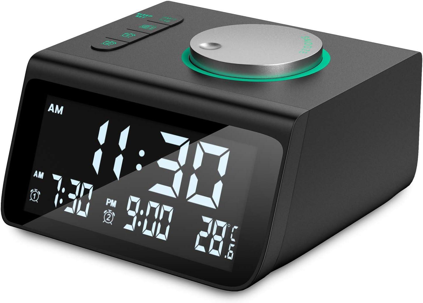 Digital Alarm Clock, Dekala Small Alarm Clocks Radio, with FM Radio, Dual Alarm, Dual USB Charging Ports, Battery Backup for Bedroom, Desk, Office