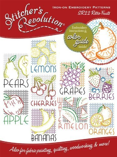 Stitcher's Revolution Iron-On Transfer Pattern for Embroidery, Retro Fruit by Stitcher's Revolution