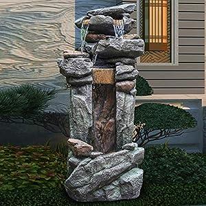 LISTOS' Outdoor Water Fountain | 5-Tier Floor Water Fountain | 40.15″ Garden Fountain Decor with White LED Light, Perfect for Patio Yard Garden Lawn (5-POTS)