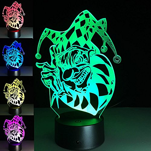 Lovely 3D Clown Night Light USB Touch Switch Decor Table Desk Optical Illusion Lamps 7 Color Changing Lights LED Table Lamp Xmas Home Love Brithday Children Kids Decor Toy Gift