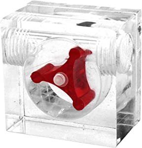 uxcell Acrylic 2 Way G1/4 Threaded Square Shape Computer Water Cooling Flow Meter Red Without Barb