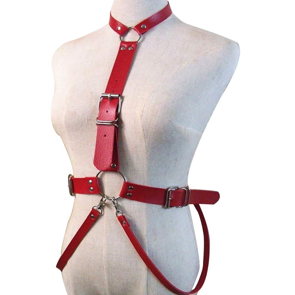 Lb19red Women's Punk Waist Belt Body Chain Faux Leather Harness Adjustable with Buckles and ORings