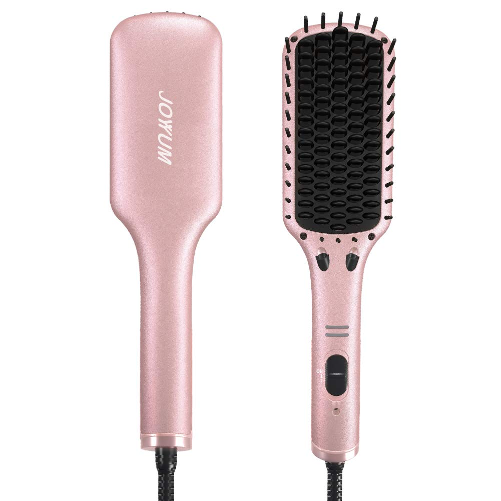 Hair Straightener Brush, JOYYUM Electrical Ionic Heated Irons Hair Straightening Brush with Fast Heating, PTC Ceramic Technology, Auto shut-off, Frizz-Free Hot Air Brush for Home Salon, Champane Gold