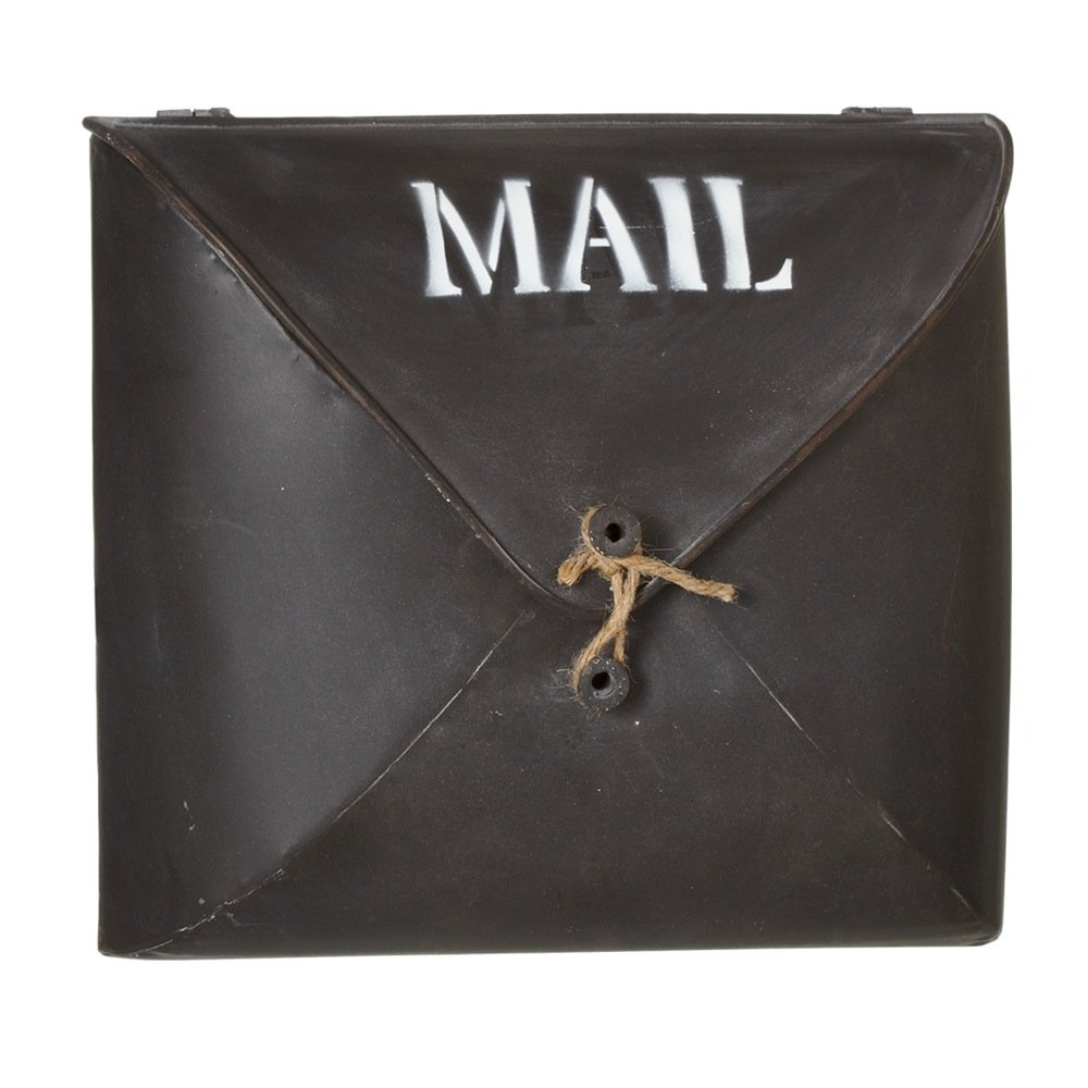 Small Red Co Country Style D/écor Envelope Brown Wall Pocket Metal Post Mailbox BRMA