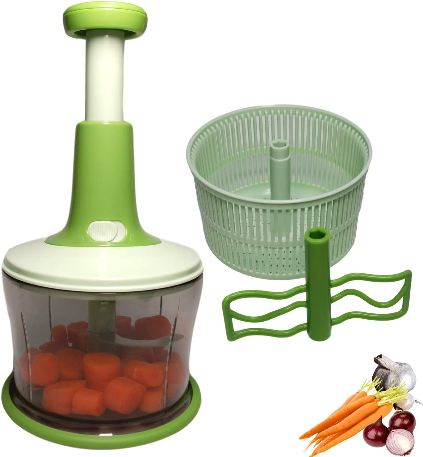 Manual Speedy Hand Press Food Chopper-Care Bliss BPA FREE Stainless Steel Blade Onion Chopper For Vegetables Fruits Nuts and More-Egg Whisk-Salad Spinner