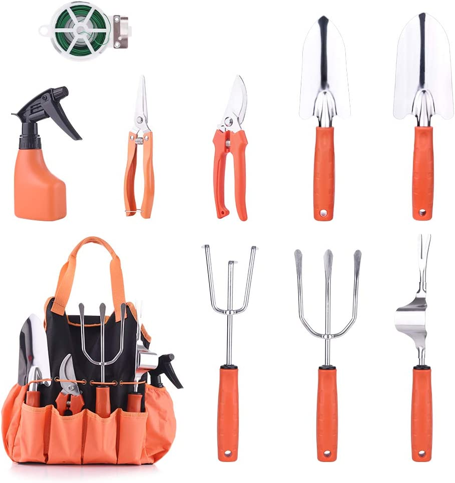 WOLFWILL 10 Pieces Garden Tools Set, Stainless Steel Hand Gardening Tools Gift Kits Planting Kit with Ergonomic Handles