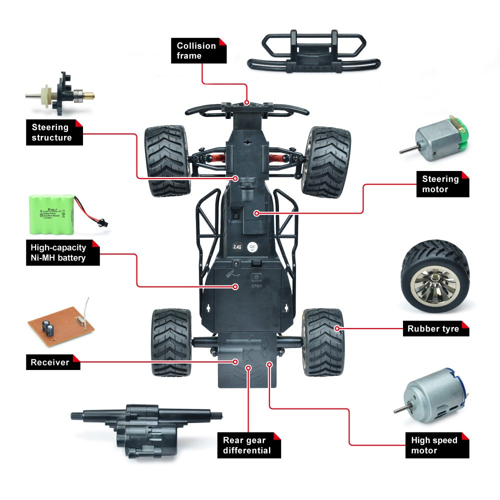 Rechargeable 2.4 g Radio Remote Control Trucks Demaxis Offroad RTR Rc Electric Cars Rc All Terrain Vehicles truggy 1//16 Scale Highest Speed 10 mph 2wd Rc Dune Desert Buggy Red