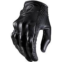 Leezo Guantes de Cuero de Motocicleta para Hombre con Todos los Dedos ATV Racing Premium Guantes de Moto de protección Negros