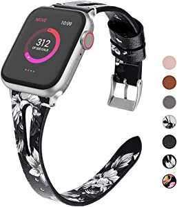 OULUOQI Compatible with Apple Watch Band 38mm 40mm 42mm 44mm Women, 2019 Slim Soft Leather Band Replacement for iWatch Bands SE Series 6/5/4/3/2/1