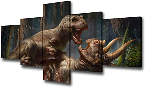 Amazon Com Tumovo Dinosaurs Canvas Wall Art Huge Wildlife Animals Fighting Jursssic Park Dinosaurs Picture Modern Home Decor Kids Bedroom Hd Poster 5 Panel Stretched And Framed Ready To Hang 50wx24h Inches Paintings