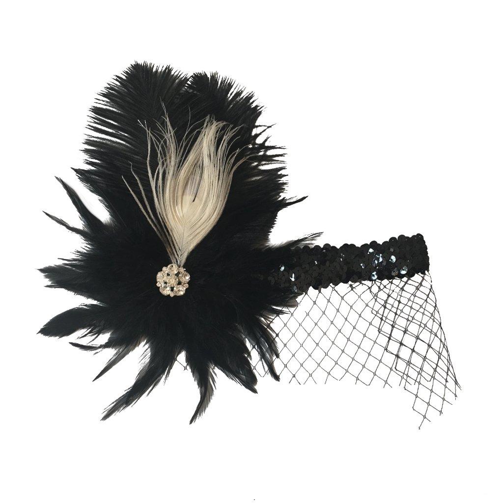 Gazechimp Sombrero Pluma Antiguo para Mujeres de Color Negro de Pluma Tocado Flapper Cinta de Cabeza
