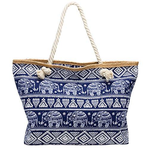 CASPAR TS1042 XL Bolso de Playa para Mujer/Bolso de Mano Shopper con Estampado de Elefantes Azul Oscuro