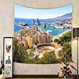Gzhihine Custom tapestry Landscape Tapestry Aerial View of Malaga with Bullring and Harbor Spain Traditional European City for Bedroom Living Room Dorm 80WX60L Multicolor
