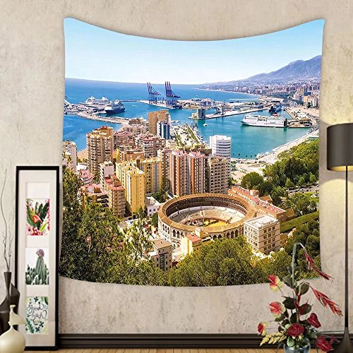 Gzhihine Custom tapestry Landscape Tapestry Aerial View of Malaga with Bullring and Harbor Spain Traditional European City for Bedroom Living Room Dorm 80WX60L Multicolor by Gzhihine