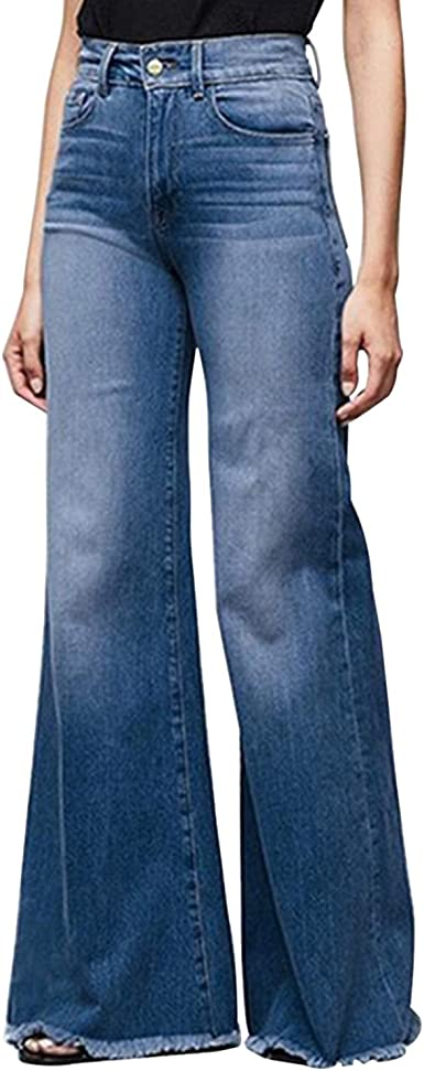 Womens Retro Wide Leg Bell Denim Ankle Crop Loose High Waist 60s Jean Oversize Relased OL Pants