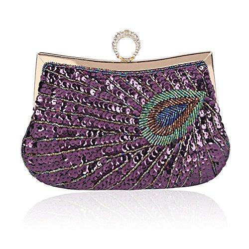 à Luxe Pochette Sac Lovely Perlée Paon Femmes Soirée Main Banquet Noble rabbit Cosmétique Purple Paillettes Sac De wqRz7Y