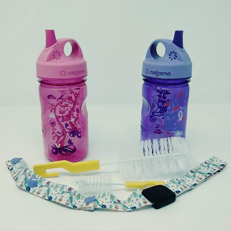 Nalgene Everyday Grip-N-Gulp ウォーターボトル キッズ/幼児用 漏れ防止 ピンク/ウッドランド/パープル/フード ボトルブラシ2本とシッピーカップボトルホルダーストラップリーシュテザー 調節可能 B07GZ16RYH