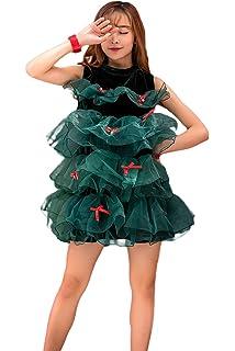ecde927a3796 Amazon.com: Haocloth Women's Sleeveless Halter Christmas Tree Dress ...