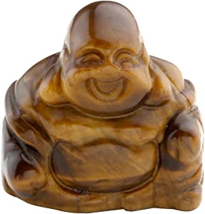 PESOENTH 1.2inch Natural Tiger Eye Laughing Buddha Statue Healing Crystals Gemstone Carved Mini Happy Buddha Figurine Feng Shui Ornament Meditation Therapy Wealth and Good Luck Desk Home Decor