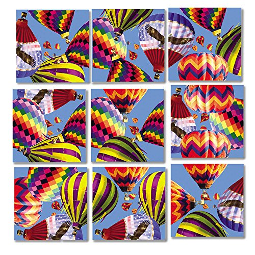 Square Nine (Scramble Squares Hot Air Balloons 9 Piece Challenging Puzzle - Ultimate Brain Teaser and Mind Game for Young and Senior Alike - Engaging and Creative With Beautiful Artwork - By B.Dazzle)