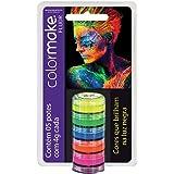 Yur 7, Pintura Facial, Cremosa Color Make 5 Cores Fluo Cartela com 05, Multicor