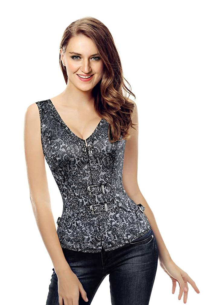 Kimring Womens Gothic Steampunk Jacquard Overbust Corset Vest with Buckles