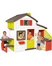 Smoby-810200 Casa Friends House con Cocina Exterior, Color Verde/Gris/Rojo/Blanco, 217 x 155 x 172 cm (810200)