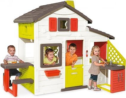 Smoby-810200 Casa Friends House con Cocina Exterior, Color Verde/Gris/Rojo/Blanco, 217 x 155 x 172 cm (810200): Amazon.es: Juguetes y juegos