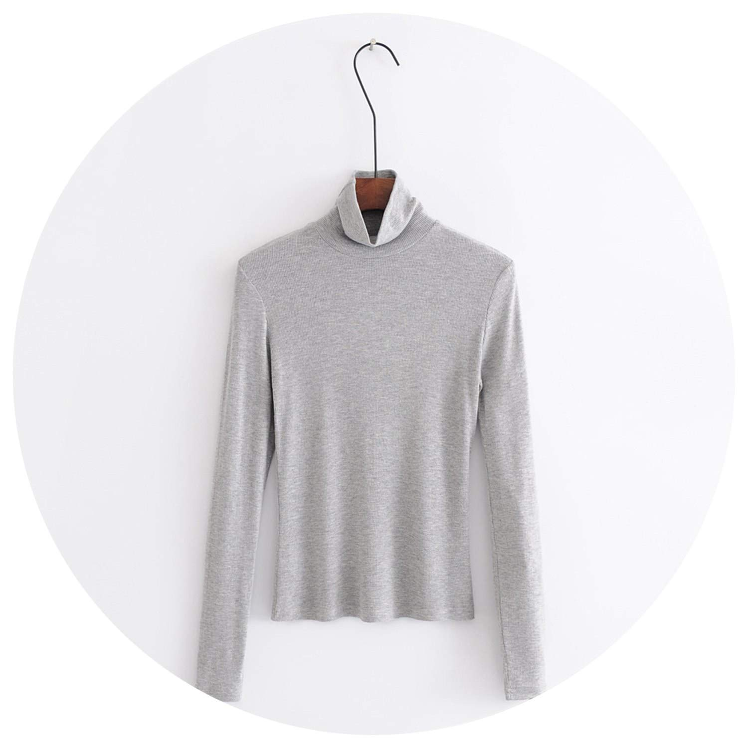 9beced883 Women Turtleneck Ribbed Slim Fit T-Shirt with Long Sleeve All ...