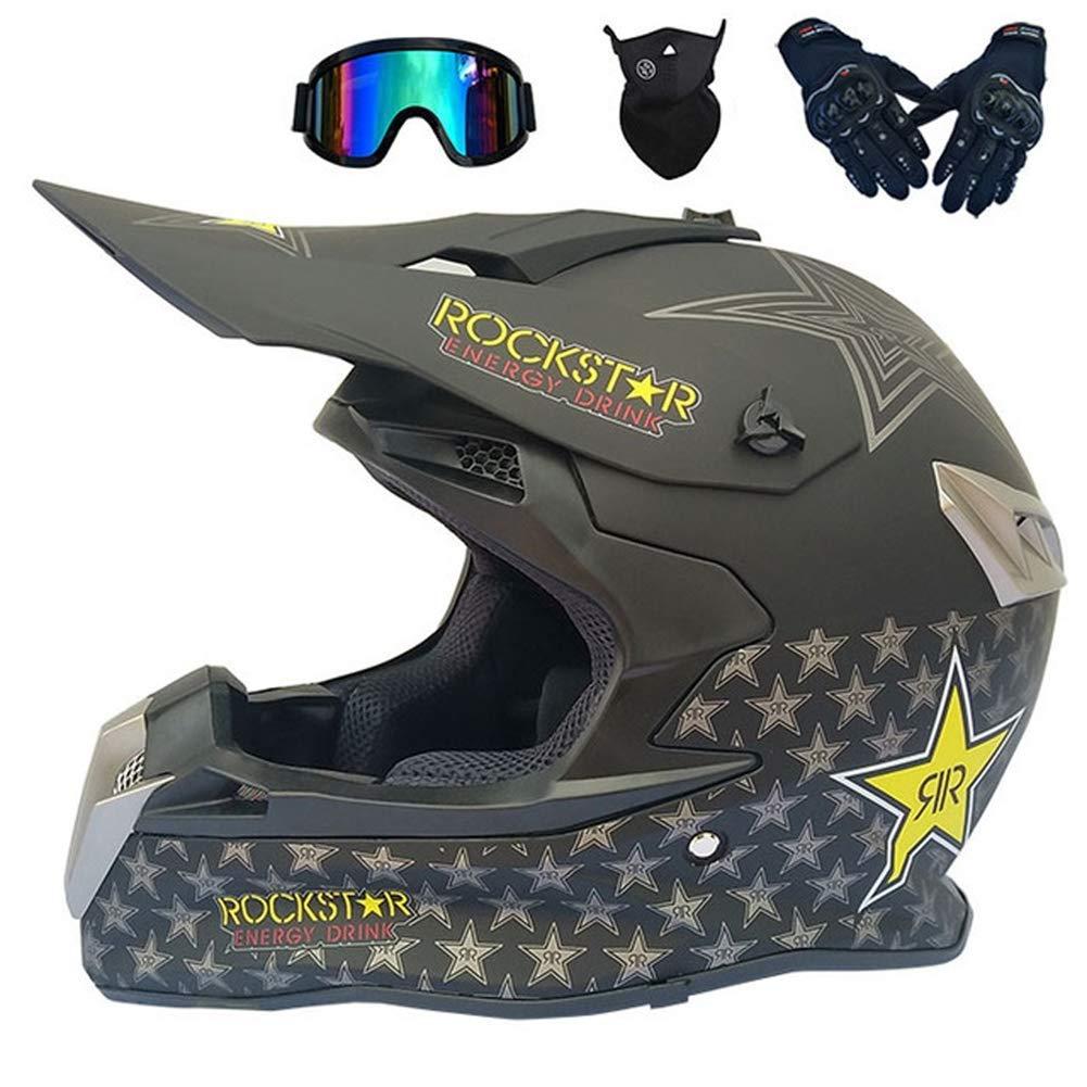 アダルトモトクロスヘルメット、ロードヘルメットセット(4個、ゴーグルグローブマスク)、取り外し可能なイヤーマフ、マウンテンバイクヘルメットバイククロスフルフェイスオートバイクラッシュヘルメット、4スタイル,として
