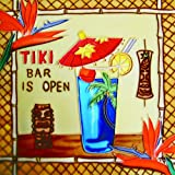 "Tiki Bar Is Open - Decorative Ceramic Art Tile - 8""x8""En Vogue"