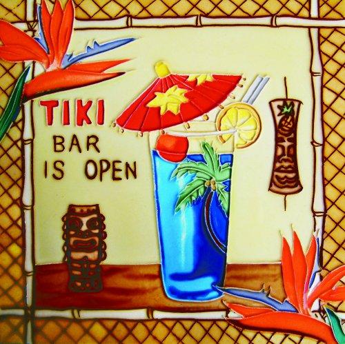 Tiki Bar Is Open - Decorative Ceramic Art Tile - 8