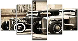 "Modular Poster HD Printed Canvas Painting Frames for Living Room Wall Art 5 Pieces Hot Rod Vintage Car Pictures Home Decor(40""W x 20""H, Framed) LiftGather"