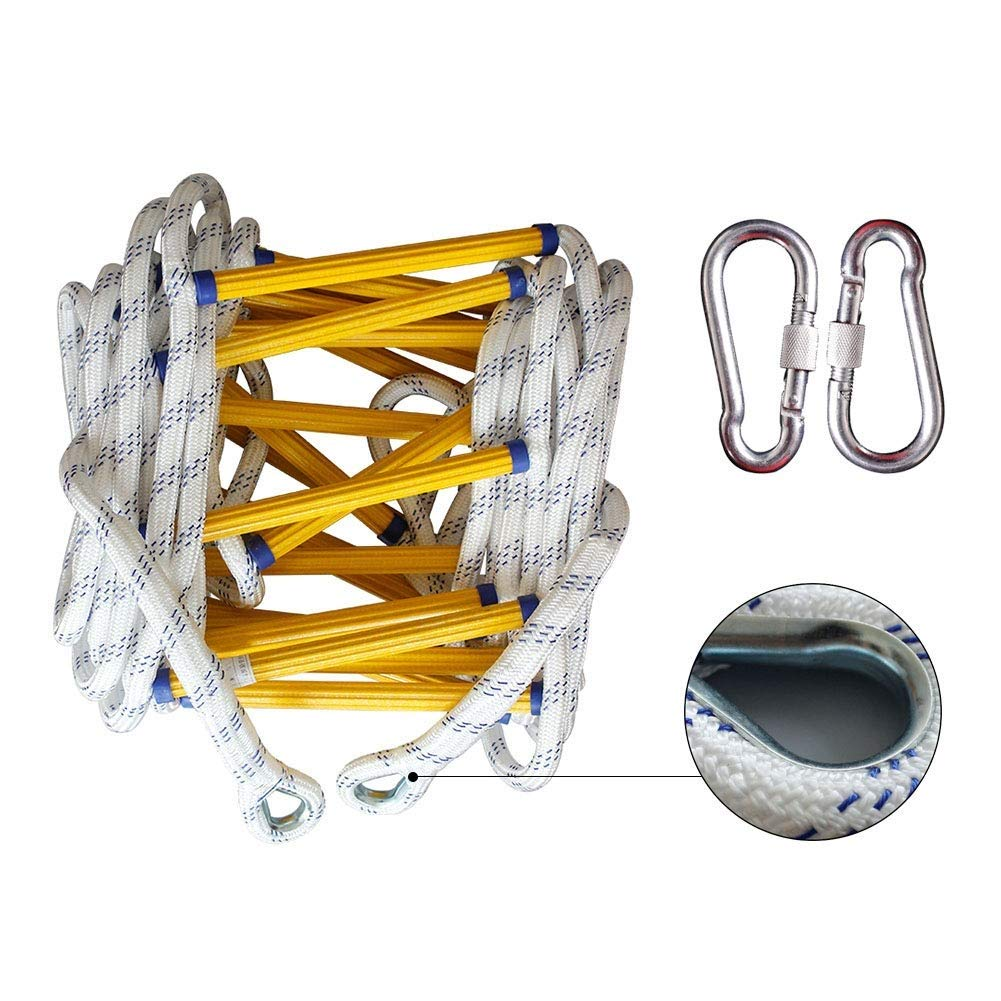 Rope Ladder Emergency Safety Fire Rescue Rock Climbing Escape with Hook Carabine