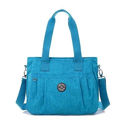 3e4c73fcb6 Tiny Chou Water Resistant Nylon Tote Handbag Crossbody Messenger Bag with  Detachable Shoulder Strap
