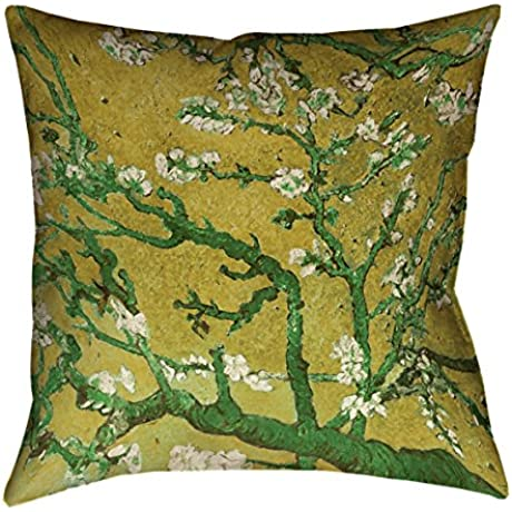 ArtVerse Vincent Van Gogh Almond Blossom In Yellow And Green X Floor Pillows Double Sided Print With Concealed Zipper Insert 36 X 36