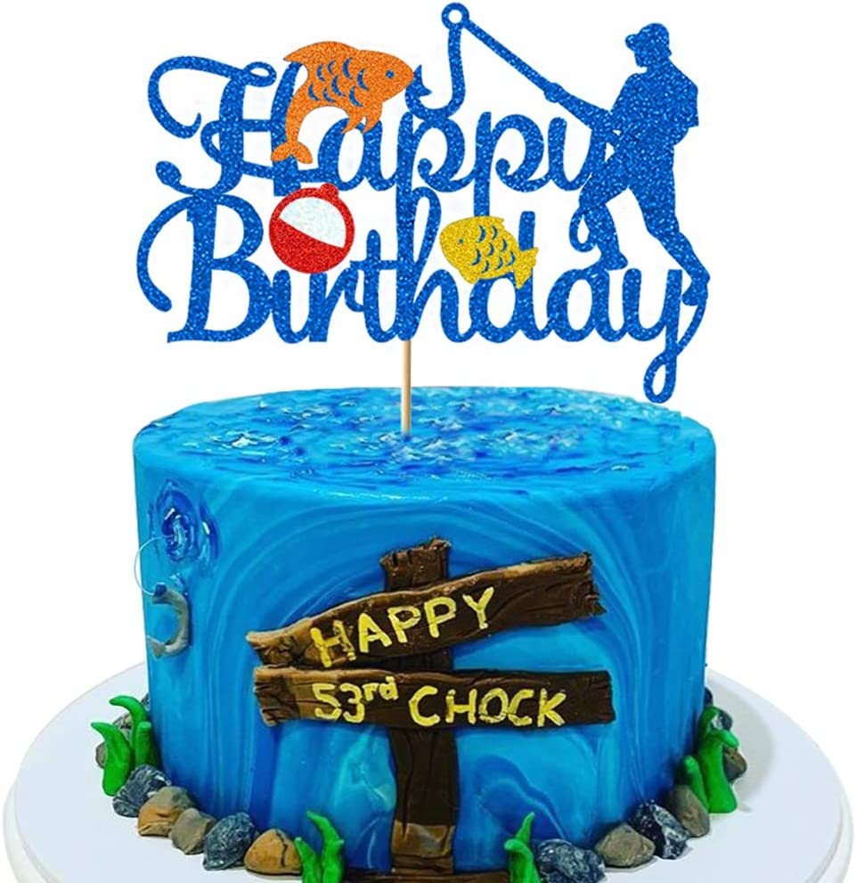 Glorymoment Fishing Cake Toppers Birthday, Glitter Blue Bobber Cake Topper, Fisherman Cake Topper Birthday Fishing Themed Party Cake Decoration Supplies -Double Sided (6.7'' x 4.67'')