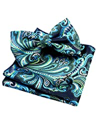 Alizeal Mens Multi-color Floral Pre-tied Bow Tie, Pocket Square and Cufflinks Set, Dark Green+Turquoise